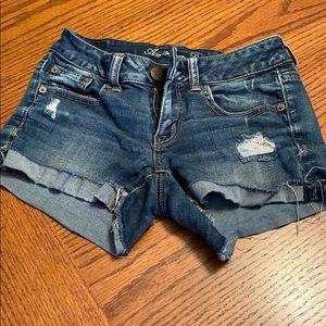 American Eagle , size 2, super stretch jean shorts